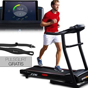 Sportstech F26 Profi Laufband mit Smartphone App Steuerung Pulsgurt im Wert von 39,90 € inklusive – MP3 AUX Bluetooth 4 PS 16 km/h HRC Training – kompakt klappbar verstaubar