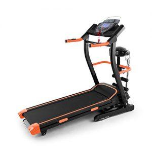 Klarfit Pacemaker FX5 Laufband Heimtrainer (1,5 PS, 12 km/h, Massagegerät, Sit Up Bank, Trainingscomputer, 12 Programme, Lautsprecher, AUX-IN, zusammenklappbar) schwarz-orange