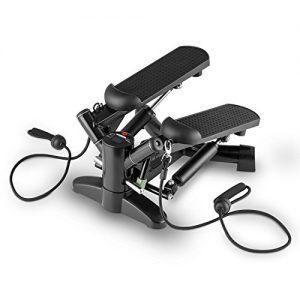 Klarfit Powersteps Aerobic Stepper Twist-Stepper (2 Expander-Bänder, inkl. Trainingscomputer Anzeige: Kalorien & Schrittzahl, Belastung max. 100kg) schwarz