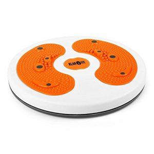 Klarfit myTwist Body Twister Balancetrainer und Hüfttrainer Balanceboard Drehscheibe für Aerobic Übungen ( mit Fußmassage, 28cm Koordinations- und Gleichgewichtstrainer, Magnetfeld-Stimulation) orange
