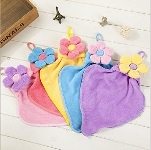 MaMaison007 Sonnenblume Handtuch Korallen Samt Wasser Super Saugfähigen Handtücher Hängen Kinder Handtuch Hand Handtuch-4 Stk