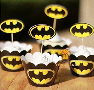 MaMaison007 Backen Cupcakes Ausgekleidet Plug Suit 12 Felge + 12 Insert Karten Dekorieren Batman