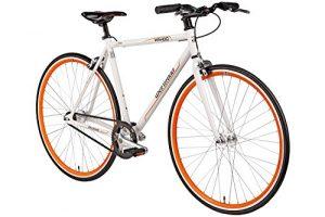 Fixie 28 Zoll Singlespeed Retro Fahrrad Bermuda Wahoo in weiß / orange 28″ Fitnessbike Fixed Gear Rennrad Bike Flip Flop Nabe 52 cm Rahmenhöhe Damen Herren