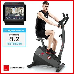 Sportstech Ergometer EX500 mit Smartphone App Steuerung + Google Street View Lauf + 5,5 Zoll Display, 12KG Schwungmasse, Pulsgurt kompatibel – Fitness Bike Heimtrainer mit flüsterleisem Riemenantrieb