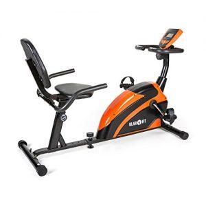 Klarfit Relaxbike 5G Ergometer Liegefahrrad, Ausdauertraining im Liegen (belastbar max. 100kg, 5kg Schwungmasse, Handpulsmesser, großes LCD-Display) schwarz-orange oder schwarz grün