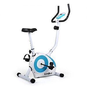 Klarfit Mobi FX 250 Heimtrainer Fitnessbike Ergometer (Trainingscomputer mit LCD-Display, 8-stufig verstellbarer Widerstand, 7-stufig verstellbare Sattelhöhe, ergonomischer Sattel, belastbar bis 100 kg) weiss-blau oder schwarz-orange