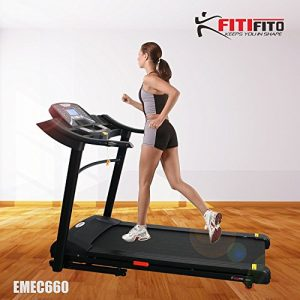 Fitifito 660B Profi Laufband 6PS 18km/h mit LED Bildschirm, Dämpfungssystem, 15 Trainingsmodulen inkl. HRC – Klappbar, Schwarz