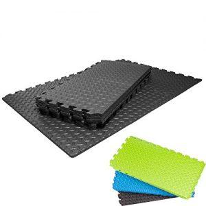 Schutzmatten Set von #DoYourFitness mit 18 Puzzlematten 6 Steckelementen á 30 x 30 x 1,2 cm (ca. 1,62m²) – Unterlegmatten / sicherer Bodenschutz für Sportgeräte, Gymnastikräume, Keller – Matten Schutz vor Kratzern, Dellen, Kälte, Lärm, Flüssigkeit / erhältlich in schwarz grün blau