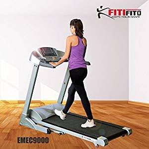 Fitifito 9000 Profi Laufband 7PS 22km/h mit LED Bildschirm, Dämpfungssystem, 5 Trainingsmodulen inkl. HRC – Klappbar, Schwarz