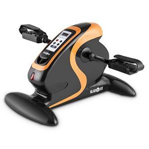 Klarfit Cycloony MiniBike Bewegungstrainer Heimtrainer Ergometer (70W Leistungsaufnahme, 12 Geschwindigkeitsstufen, Trainingscomputer mit LCD-Display, Vor- oder Rückwärtslauf, belastbar bis 120kg) schwarz-orange oder weiß-blau