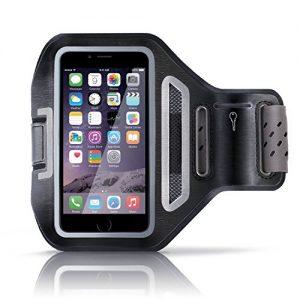 Aplic – Apple iPhone 6 / 6s Sportarmband mit Schlüsselfach + Kopfhörerhalter | passgenau für Smartphones mit bis zu 4,7″(11,9cm) | atmungsaktives Mesh-Gitter | spritzwassergeschützt | inkl. Reflektorstreifen | schweißbeständig | schwarz