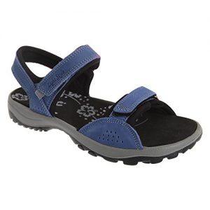 IMAC Damen Sandale / Sport-Sandale / Trekking-Sandale mit Klettverschluss, Nubukleder (38 EU) (Marineblau)