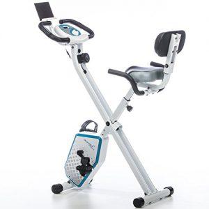 skandika Foldaway X-1000 Plus Fitnessbike zusammenklappbar mit Bluetooth, Tablet Halterung, Rückenlehne, Multifunktionscomputer, Handpulssensoren und 8-stufige manuelle Widerstandseinstellung