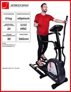 Sportstech CX630 Profi Crosstrainer Elliptical mit elliptischem Bewegungsablauf, Schwungmasse 21 KG, 4x HRC – 20 Trainingsprogramme – 24 Widerstand Stufen – Heimtrainer Ergometer Ellipsentrainer Stepper