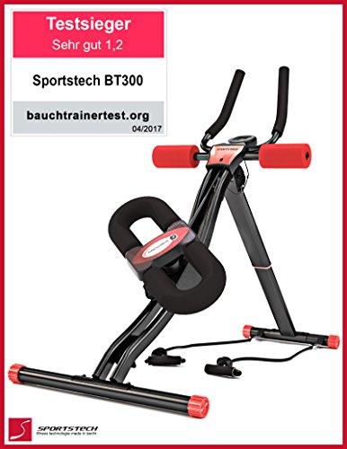 TESTSIEGER Sportstech BT300 Profi Bauchtrainer mit schwenkbarer Knieauflage für seitliche Bauchmuskeln, S-Form Schiene, 25 Einstellmöglichkeiten + Widerstandsbänder inkl. AB Shape Trainer für Sixpack