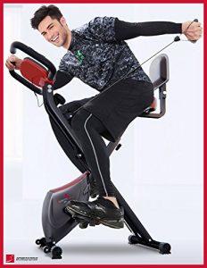 Sportstech F-Bike X100 Fitnessfahrrad mit patentiertem Zugbandsystem 4 KG Schwungmasse Rückenlehne X-Bike Ergometer mit Tablethalterun stufenloses Zwei-Wege Magentbremssystem Handpulssensoren faltbar