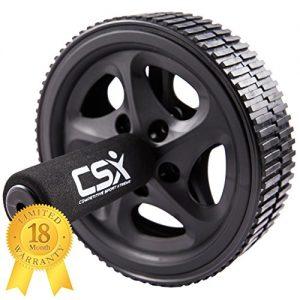 CSX Bauchroller, Rad mit extra dicker Knieauflagematte und Komfort-Schaumgriffen, Schwarz – Dual, Doppel-Pro-Bauchübungsrad – Phantastischer Fitnessworkout für die Bauchmuskeln