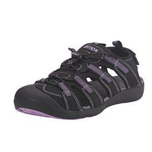 GRITION Damen Outdoor Sandalen Sport Wandern Sandalen Schnelle Trockene Schützende Zehenkappe Sommer Schuhe Violett / Schwarz