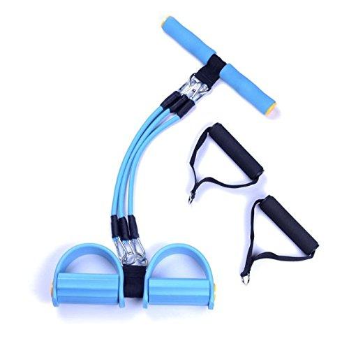 Sunmoch Multifunktionale Bauchtrainer Latex Schlauch einstellbar Fußpedal Zugseil 5 Aktien Knirscht Fitness Seil