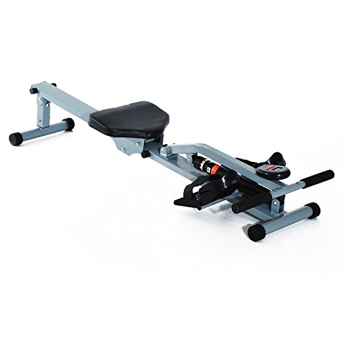 Homcom® Rudergerät Rudermaschine Fitnessgerät Ruderzugmaschine Heimtrainer, mit LCD Display, Stahl+PVC, Grau, 130x67,5x67cm
