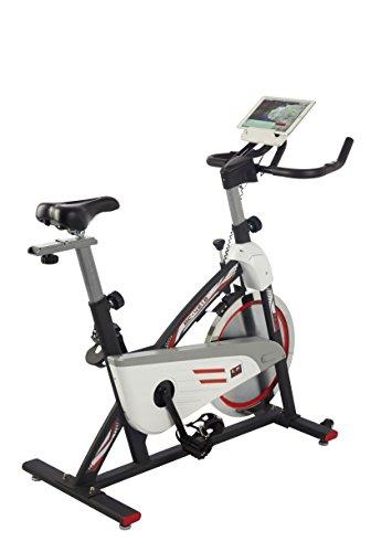 BODY SCULPTURE Racing Bike Pro 28146 Indoor-Cycle mit 18 kg Schwungrad | Bluetooth + IBiking - App für Indoorbikes | Training-Computer und Handpulssensoren | belastbar bis 125kg