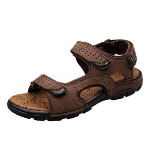 Insun Herren Leder sandalen Outdoor Halbschuhe Sportsandalen