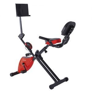 Magnetic Heimtrainer Fitness Liegerad Heimtrainer , Folding Einstellbare Fitness Magnetic Übung Cycling Bike (Rot)