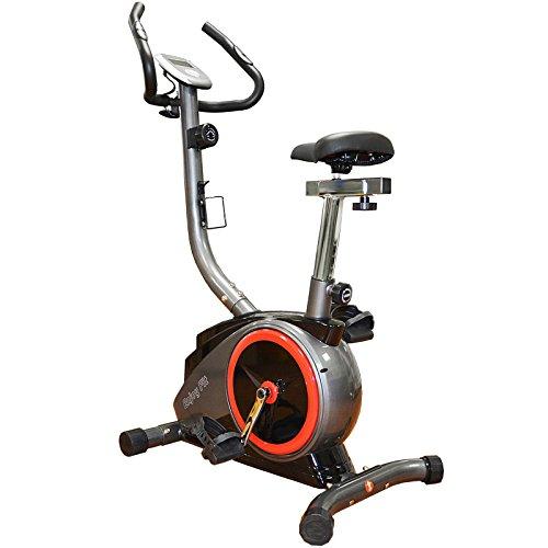 Hansson EnjoyFit Heimtrainer Fahrradtrainer mit Handpuls-Sensoren silber/rot