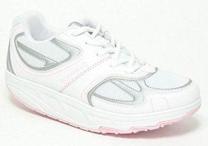 BIODYNAMIX Aktiv Damenschuhe mit Spezial Rundsohle Gondelsohle Freizeitschuhe Komfortschuhe Outdoor Walking Schuhe Fitness Schuhe weiß rose Gr.38-39