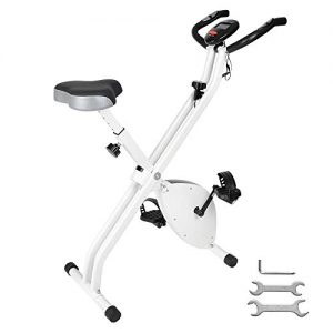 ReaseJoy Foldable Magnetic Exercise Bike Folding X Bike Cardio Fitness Workout Weight Loss Cycle Bicycle Home Cycling Machine 2.5KG Flywheel with LCD Display Adjustable Seat Pulse Sensor Grips White