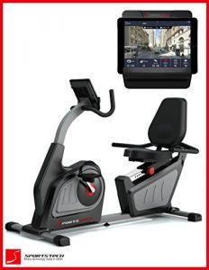 Sportstech ES600 Profi Ergometer mit APP Steuerung & integriertem Stromgenerator + Pulsgurt optional, HRC, optimaler ergonomischer Sitzkomfort – Liegeergometer Heimtrainer mit Rückenlehne