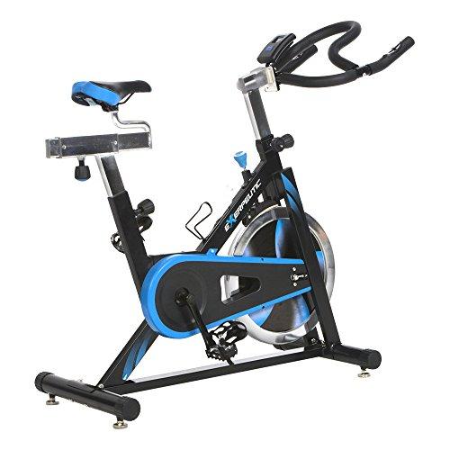 Exerpeutic Uni LX7 Indoor Cycle mit Computer und Handpulsmessung, 18kg Schwungmasse Trainingsfahrrad, Schwarzblau, One Size