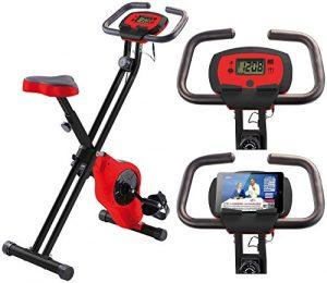 PEARL sports Hometrainer: Schwungmasse-Heimtrainer HT-516 mit Notebook- / Tablet-Halter bis 14″ (Schwungmasse Trainer)
