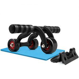 Amzdeal Ab roller Bauchtrainer 3 Rollen Bauchmuskeltrainer mit Bremsscheibe und kneeling Pad, Schwarz
