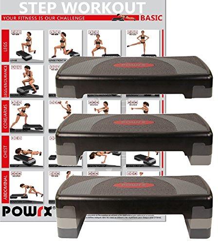 Steppbrett Home Aerobic XL Premium inkl. Workout Fitness Step Stepper 3 - Stufen höhenverstellbar