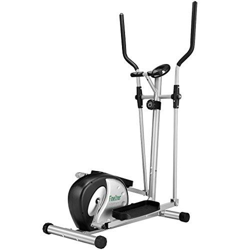 Finether Crosstrainer Heimtrainer Ellipsentrainer Stepper Ergometer X-Trainer Trainingscomputer mit LCD-Display und Pulsmessung Fitness Heimtrainer für Beine Gesäß Hüfte Arme Schultern und Muskel
