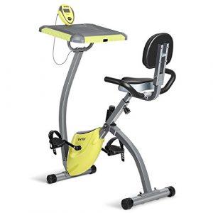 INTEY Heimtrainer Fahrrad Leise Fitnessbike Klappbares Fitnessfahrrads mit Computerschreibtisch als Arbeitsfläche und Verstellbares Magnetwiderstand, LCD Dsplay für Büro und Zuhause geeignet