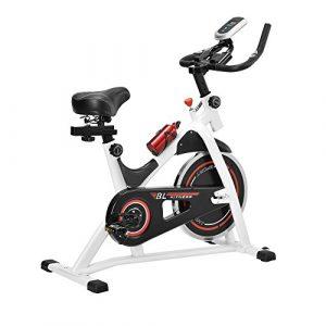 [in.tec]® Heimtrainer / Fitness Bike / Indoor Cycling Rad – weiss – Fitnessgerät
