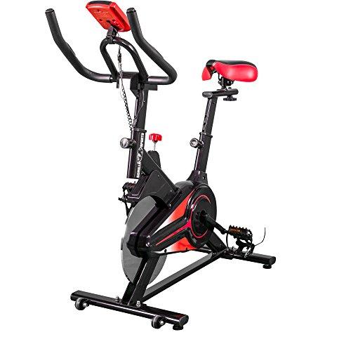 GORILLA SPORTS® Indoor Cycling Bike mit 6 kg Schwungrad – Heimtrainer Fahrrad mit Trainingscomputer - bis 120 kg belastbar