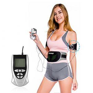 Ikeepi EMS Gürtel Elektro Fitness für Bauchmuskulatur, Muskelstimulation mit 2 Muskeltrainer und 1 Steuergerät zu Hause und Büro, 10 Programme 40 Level Puls