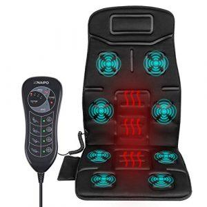 Naipo Vibrations Massagesitzauflage Massagesitzkissen Rücken Massagegerät Massage Matte tragbares mit Vibration Wärme 8 Motorvibrationen 4 Massage Modi 3 Geschwindigkeitsstufen und Hitze-Modus