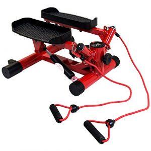Bentley Sport – Kleiner Hydraulischer Twist-Stepper mit Trainingsbändern – Rot (auch in Schwarz erhältlich)