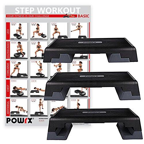 POWRX Profi Aerobic Fitness Step Steppbrett Stepper Stepbench Maße: 89 cm x 34 cm x Höhe bis max. 25 cm verstellbar