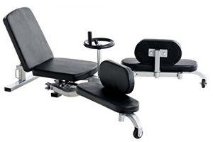 CLP Spagattrainer FIT, mechanischer Beinspreizer, mit verstellbarer Lehne und Polstern, Sitzfläche 32 x 37 cm, Beinablage 50 x 17 cm Schwarz