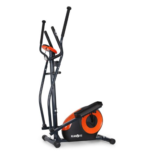 Klarfit Ellifit FX 250 • Crosstrainer • Nordic Walking Ellipsentrainer • 8 Stufen Widerstand • Handpulsmesser • Trainingscomputer • für Personen mit einem Gewicht bis 110kg • schwarz-orange