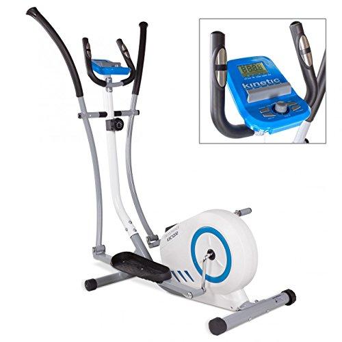 Kinetic Sports Crosstrainer Heimtrainer Ellipsentrainer Fitnessgerät mit Trainingscomputer und Handpulssensoren, 8 Widerstandsstufen