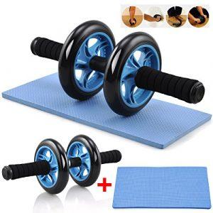 Yahee Bauchtrainer AB Roller Wheel Bauchmuskeltrainer inkl. Knieauflage Blau