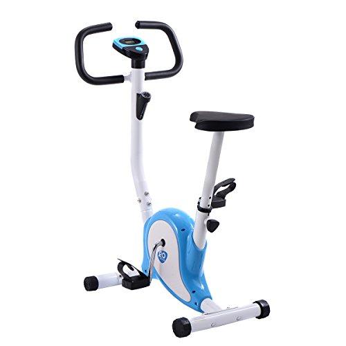 COSTWAY LCD Fitnessfahrrad Ergometer Heimtrainer Fahrradtrainer Hometrainer Trimmrad Fitnessbike Fitness Fahrrad (Blau)