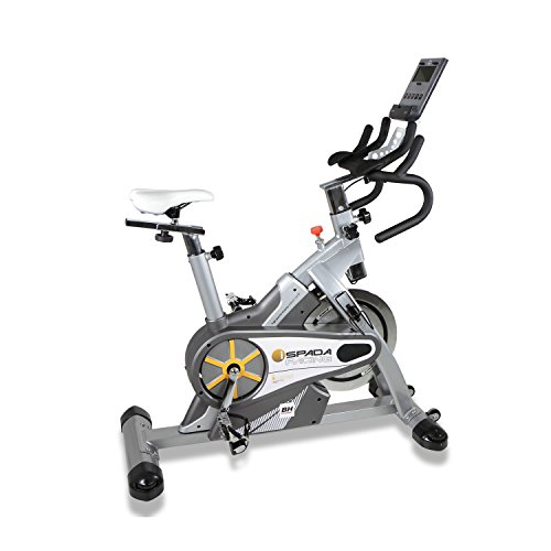 BH Fitness SPADA RACING DUAL + DUAL KIT WH930R Indoorbike Indoorcycling - PolyV-Riemen - 12 Programme - Magnetisches Bremssystem - SPD-Trekking-Pedale