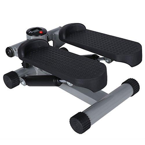 Flabor Swing Stepper mit Trainingsbändern 2in1 Twister Stepper mit Power RopesUp-Down-Stepper mit Multifunktions-Display, Hometrainer Widerstand einstellbar